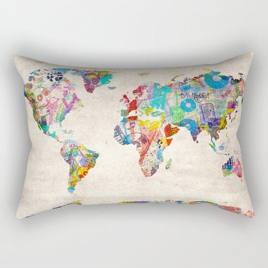 world map music art Rectangular Pillow
