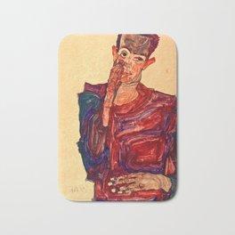 Egon Schiele - Self-Portrait with Eyelid Pulled Down Bath Mat