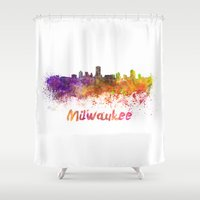 milwaukee Shower Curtains featuring Milwaukee skyline in watercolor by Paulrommer