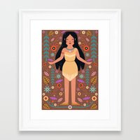 pocahontas Framed Art Prints featuring Pocahontas by Carly Watts