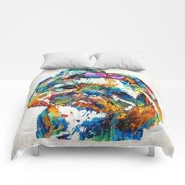 Colorful Shih Tzu Dog Art By Sharon Cummings Comforters