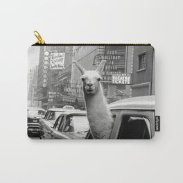Llama Riding in Taxi, Black and White Vintage Print Carry-All Pouch