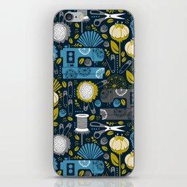 Garden of Sewing Supplies - Navy iPhone Skin