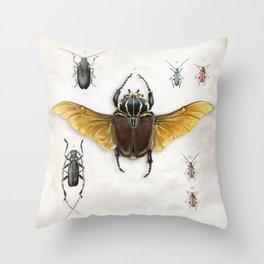 The Vintage Beetles Collection Throw Pillow