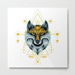 Ancient Wolf Sacred Geometry Metal Print