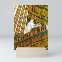 New York City Up Is Down Down Is Up Gold Mini Art Print