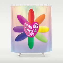 Love is Love is Love - Rainbow Flower Shower Curtain