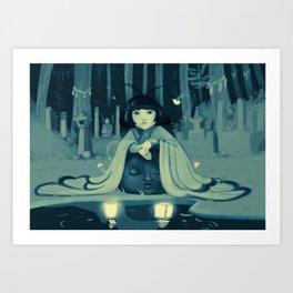 Japanese moth girl Art Print