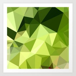 Electric Lime Green Abstract Low Polygon Background Art Print