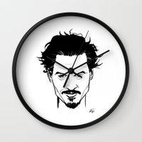 johnny depp Wall Clocks featuring Johnny Depp by Havard Glenne