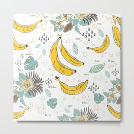 Seamless Pattern with Bananas. Scandinavian Style. Metal Print