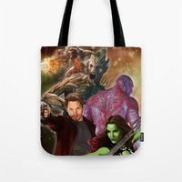 guardians of the galaxy Tote Bags featuring Guardians of the Galaxy by Hellonsy