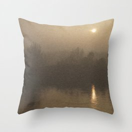 Impressionist Landscape Winter River with Fog and Sun Throw Pillow