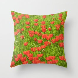 tulips field Throw Pillow