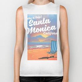 Take a Trip! Santa Monica California vintage print Biker Tank