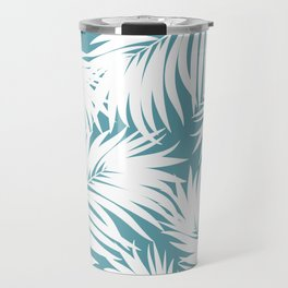 Palm Tree Fronds White on Soft Blue Hawaii Tropical Décor Travel Mug
