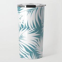 Palm Tree Fronds White on Soft Blue Hawaii Tropical Décor Travel Mug