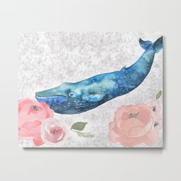 Whale Amongst the Roses Metal Print