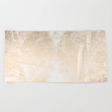 Antique World Map White Gold Beach Towel