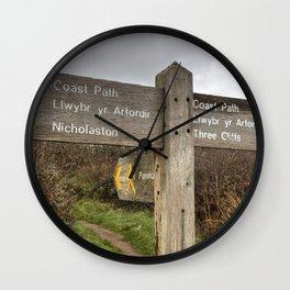 Bilingual Welsh English signpost Wall Clock