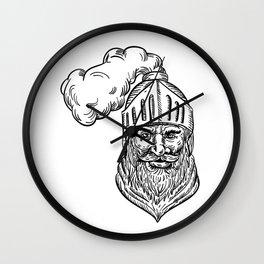 Old Knight Head Drawing Wall Clock