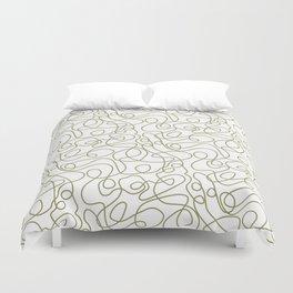 Doodle Line Art   Khaki / Olive Green Lines on White Background Duvet Cover