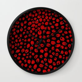 Ladybugs (Red on Black Variant) Wall Clock