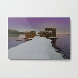 Purple Sunrise At The Snowy Chasewater Castle Metal Print