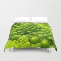 fibonacci Duvet Covers featuring Macro Romanesco Broccoli by Nicolas Raymond