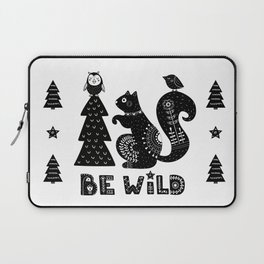 Be Wild Cute Owl And Squirrel In Scandinavian Style Laptop Sleeve