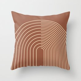 Geometric Lines in Terracotta and Beige 44 (Rainbow Abstraction) Throw Pillow