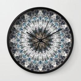 Gray, blue Mandala Wall Clock