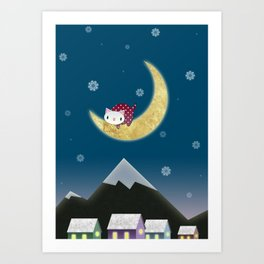Moon Kitten Art Print