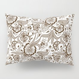 Mehndi or Henna Flowers and Leaves Pillow Sham