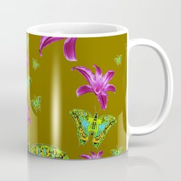 PURPLE LILIES BLUE-GREEN-YELLOW PATTERNED MOTHS Coffee Mug