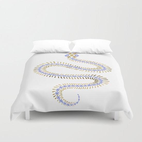 Snake Skeleton – Periwinkle & Gold Duvet Cover