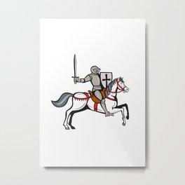 Knight Steed Wielding Sword Cartoon Metal Print