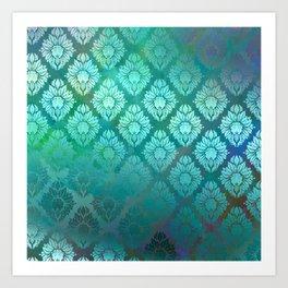 """""""Turquoise Ocean Damask Pattern"""" Art Print"""