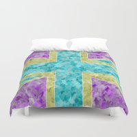 union jack Duvet Covers featuring Floral Union Jack by Alice Gosling