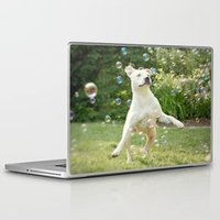 pitbull Laptop & iPad Skins featuring Pitbull and Bubbles  by Laura Ruth