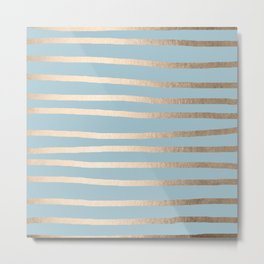 Abstract Drawn Stripes Gold Tropical Ocean Sea Blue Metal Print
