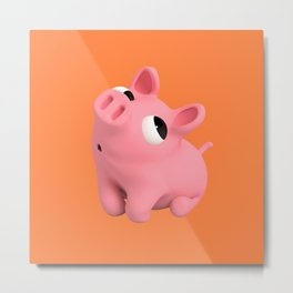Rosa the Pig Shy Metal Print