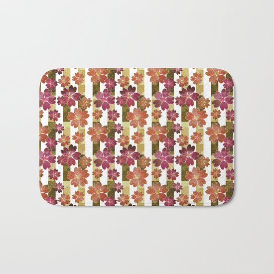 Retro . Floral pattern in yellow and brown tones . Bath Mat
