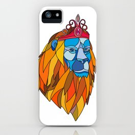 Lion Wearing Tiara Mosaic Color iPhone Case