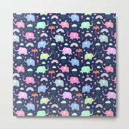 Pink navy blue neo mint rainbow elephant floral pattern Metal Print