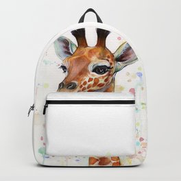 Giraffe Baby Animal Watercolor Whimsical Nursery Animals Backpack
