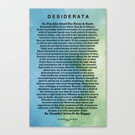 Desiderata Abstract Watercolor Aqua Mint Ocean Canvas Print