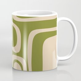Palm Springs - Midcentury Modern Retro Pattern in Mid Mod Beige and Olive Green Coffee Mug