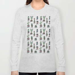 Cactus and Succulent Pattern Long Sleeve T-shirt