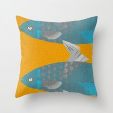Blue Fish on a Yellow River Throw Pillow